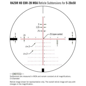Vortex Razor HD 5-20x50 Riflescope EBR-2B MOA Illuminated Reticle Subtensions