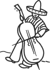 Mexican Violincello Embroidery Design - Embroidstock