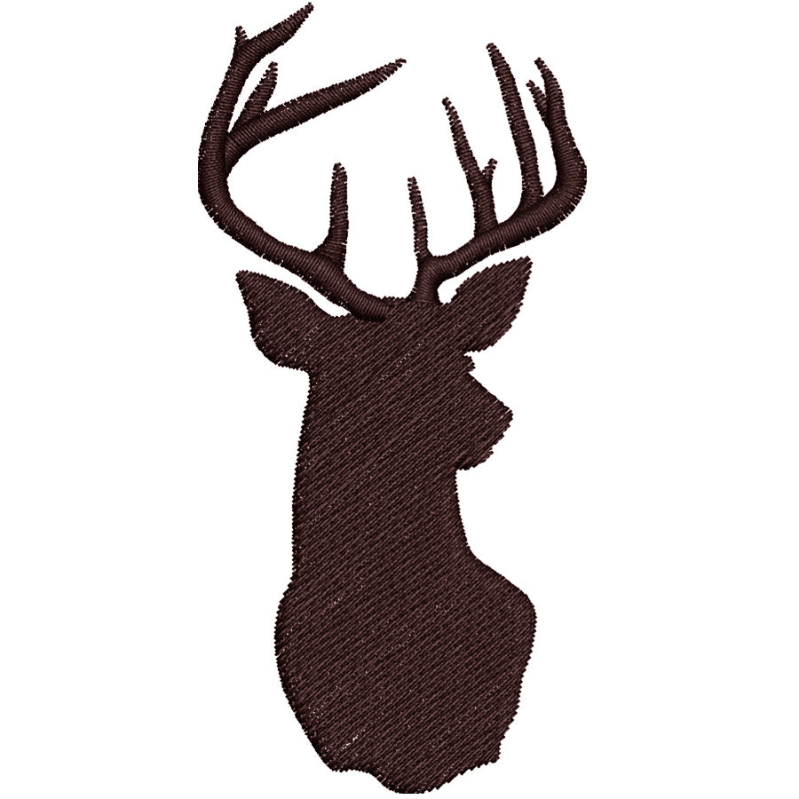 Deer Buck Head Silhouette Embroidery Design