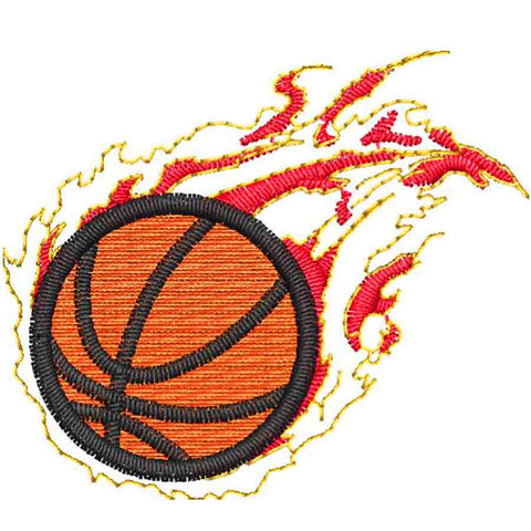 Basketball With Flames Embroidery Design