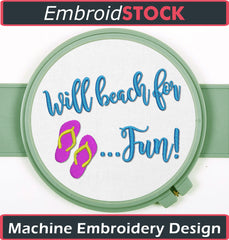 Will Beach For Fun - Embroidstock
