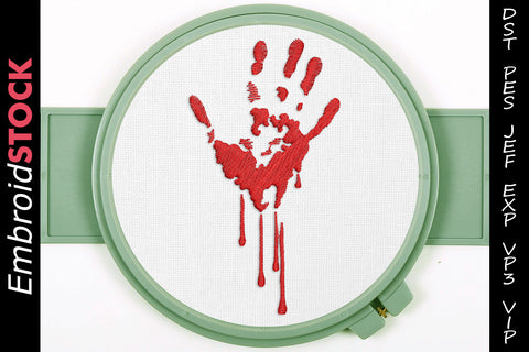 Bloody Hand Embroidery Design - Embroidstock
