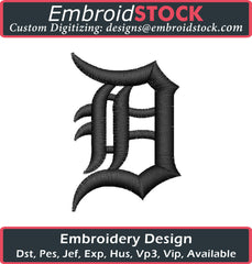 Old English Letter D Regular Embroidery Design - Embroidstock