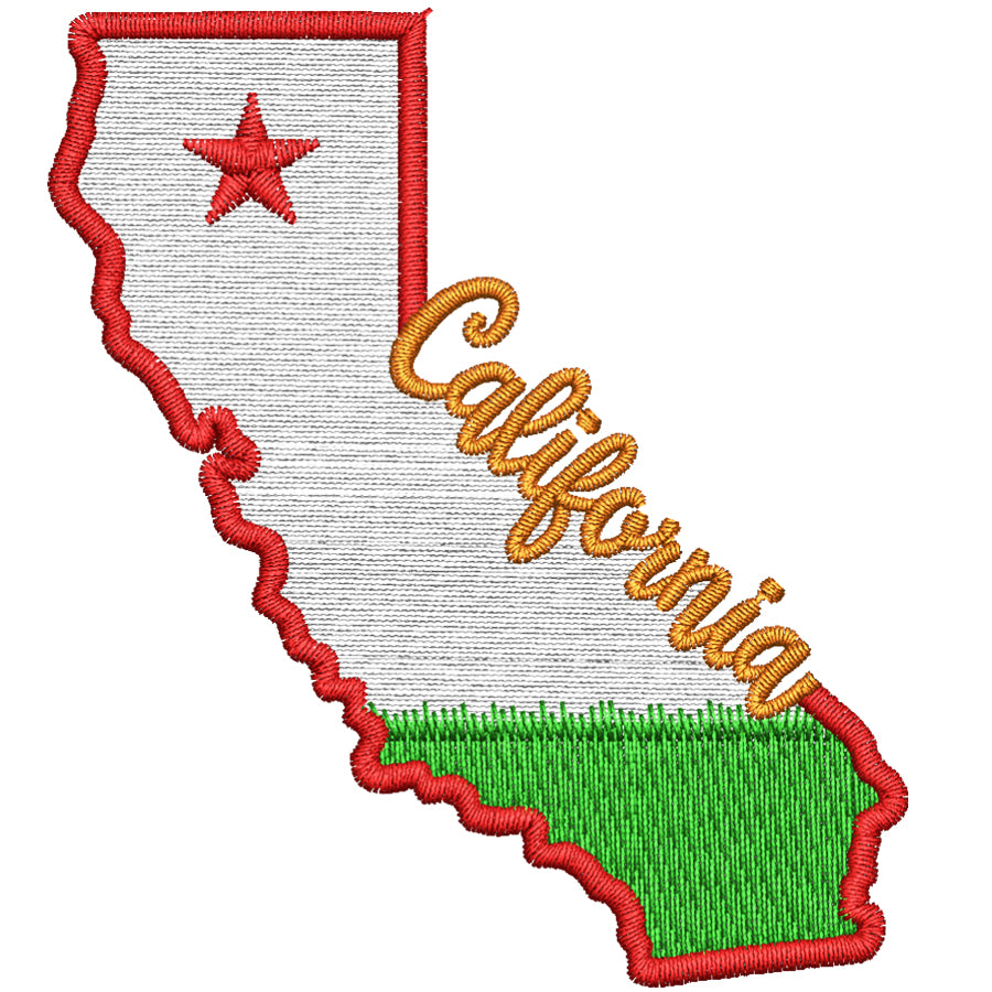 California State Map Filled Embroidery Design