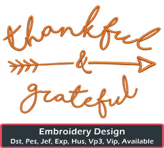Thankful and Grateful Embroidery Design - Embroidstock