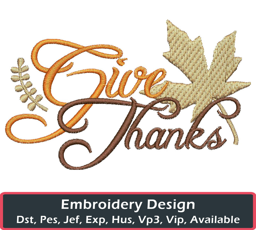 Give Thanks Embroidery Design - Embroidstock