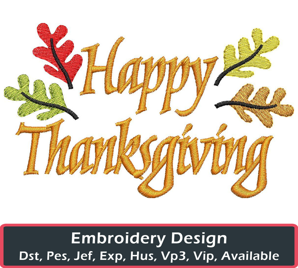 Happy Thanksgiving Embroidery Design - Embroidstock