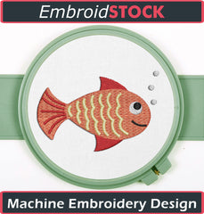 Cute Little Fish Embroidery Design - Embroidstock