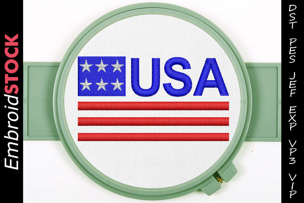 U.S.A Flag Embroidery Design - Embroidstock