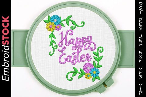 Happy Easter Embroidery Design - Embroidstock