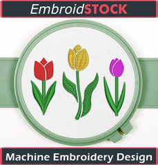 Tulips Embroidery Design - Embroidstock