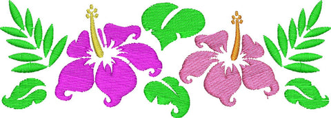 Hibiscus Flowers Embroidery Design - Embroidstock