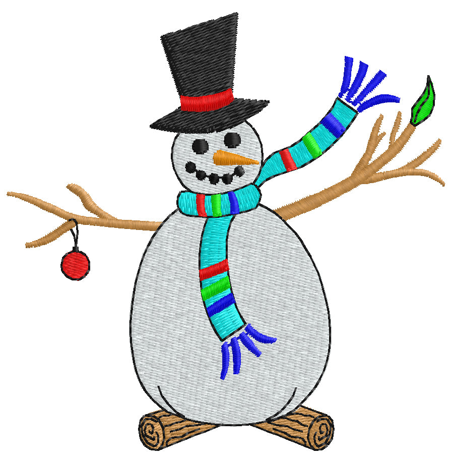 Festive Snowman Embroidery Design - Embroidstock