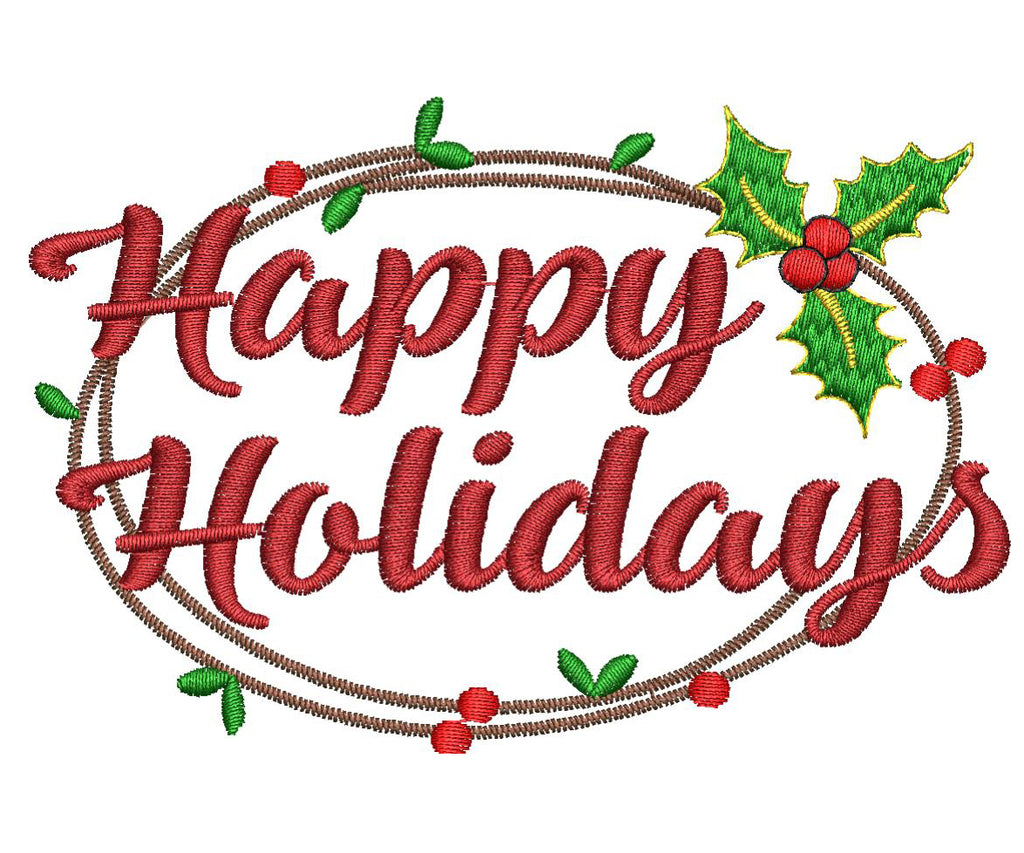 Happy Holidays Embroidery Design - Embroidstock