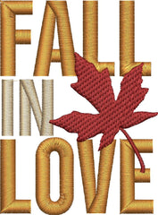 Fall In Love Embroidery Design - Embroidstock