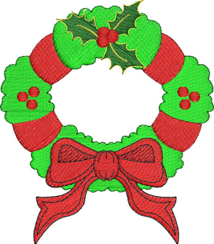 Christmas Wreath Embroidery Design - Embroidstock