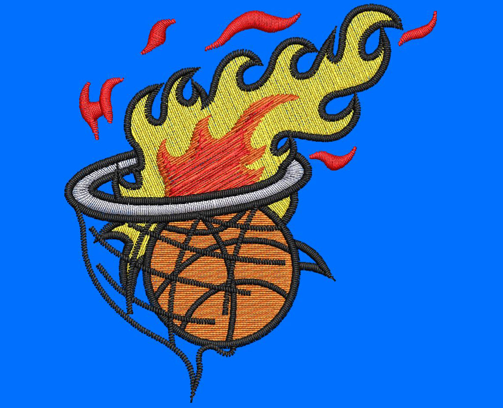 Basketball in Hoop Embroidery Design - Embroidstock