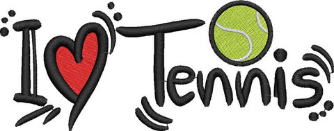 I Love Tennis Embroidery Design - Embroidstock