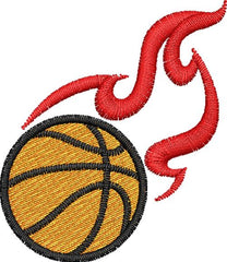 Basketball with Flames Embroidery Design - Embroidstock