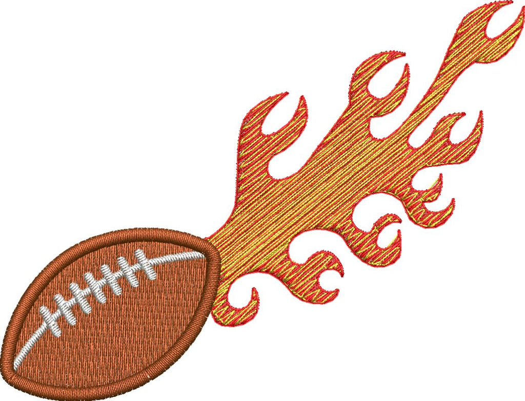 Football on Fire Embroidery Design - Embroidstock