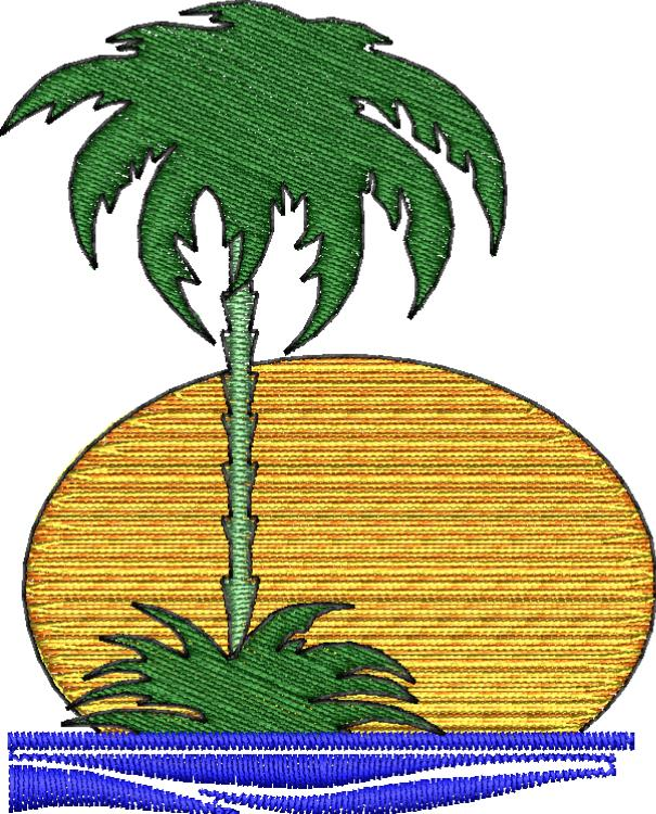Palm Tree Sunset Embroidery Design - Embroidstock