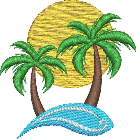 Palm Trees Embroidery Design - Embroidstock