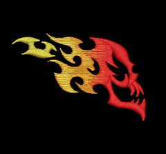Skull with Flames - Embroidstock