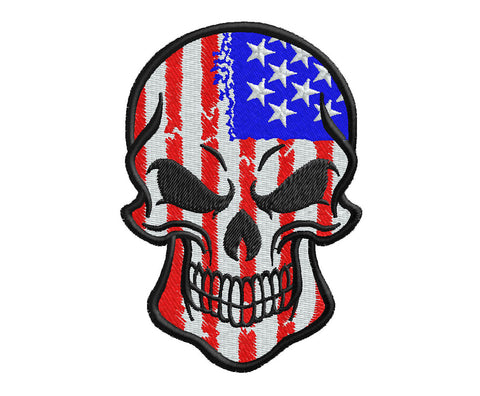 US Flag Skull - Embroidstock