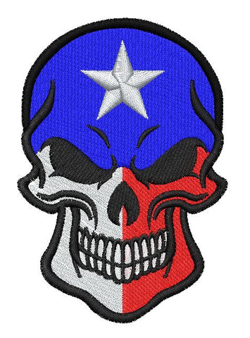 Texas Flag Skull - Embroidstock