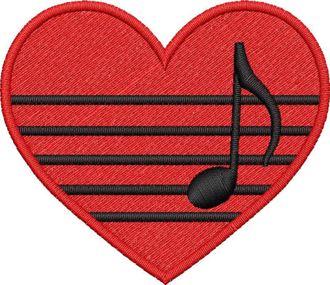 Musical Heart Embroidery Design - Embroidstock
