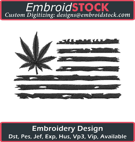 Marijuana Leaf USA Flag Embroidery Design - Embroidstock