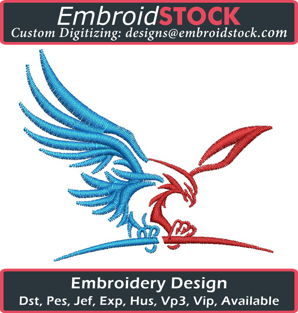 American Flying Eagle USA Embroidery Design - Embroidstock