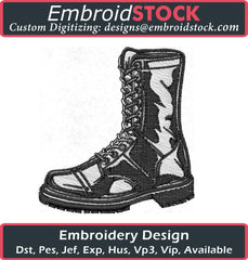 Combat Boot Embroidery Design - Embroidstock