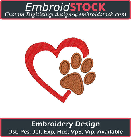 Dog Paw Heart Embroidery Design - Embroidstock