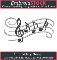Music Notes Embroidery Design - Embroidstock