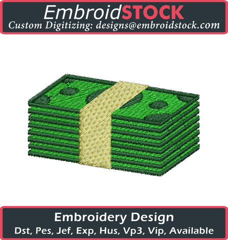 Money Stack Embroidery Design - Embroidstock