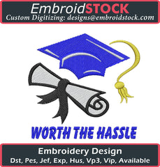 Worth The Hustle Embroidery Design - Embroidstock
