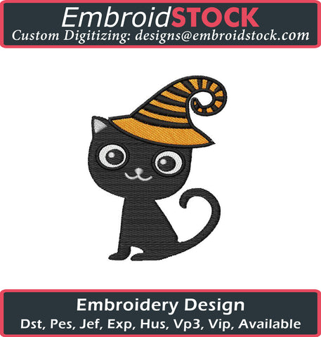 Halloween Cat Embroidery Design - Embroidstock