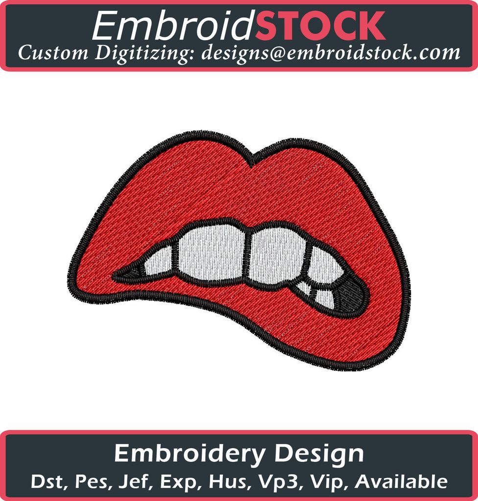 Lips Embroidery Design - Embroidstock