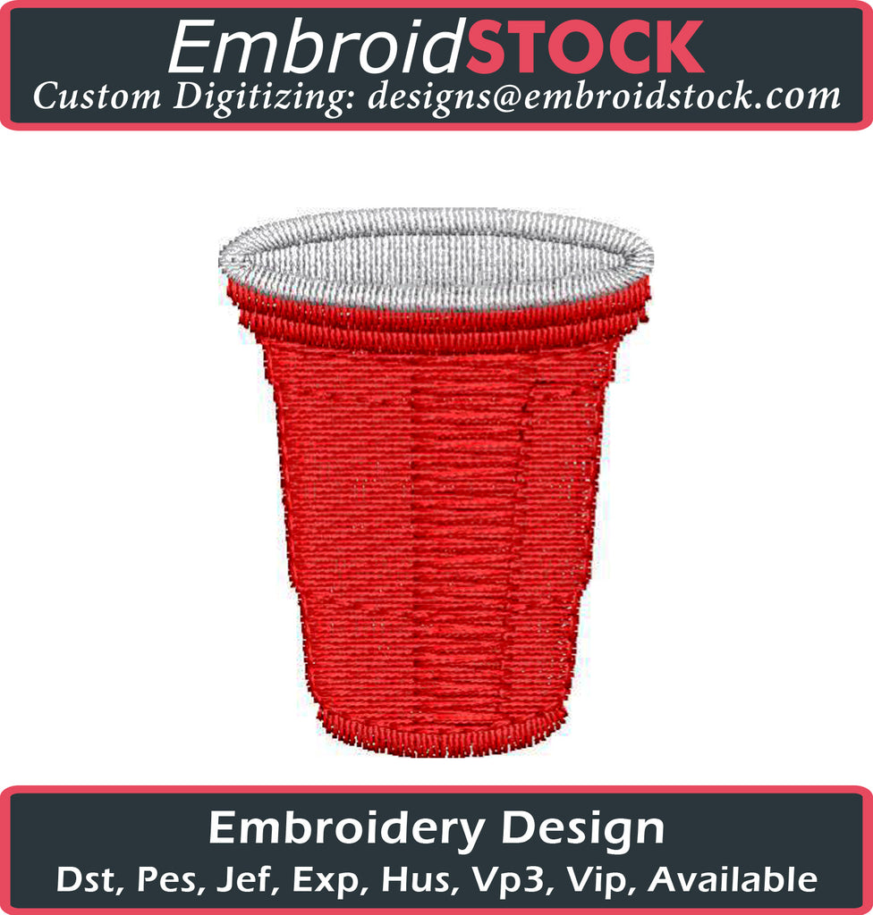 Red Solo Party Cup Embroidery Design Embroidery Design - Embroidstock