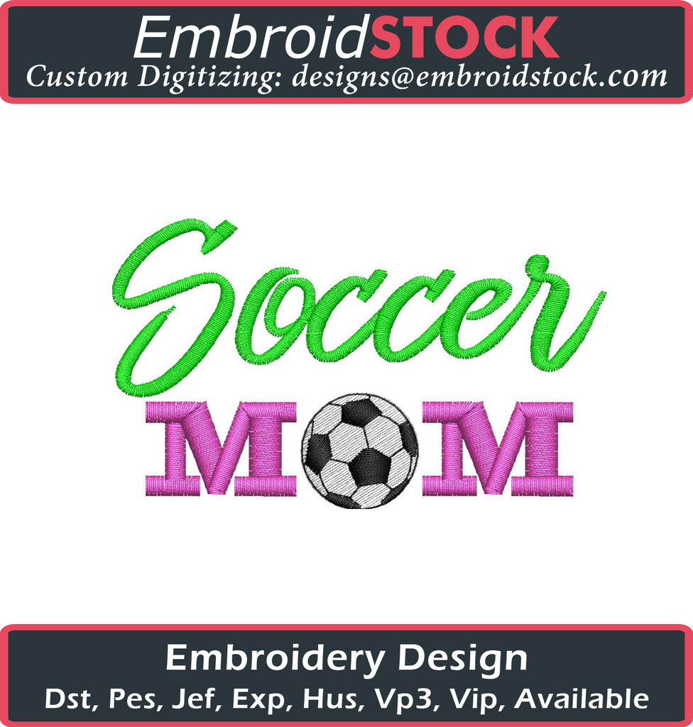 Soccer Mom Embroidery Design - Embroidstock