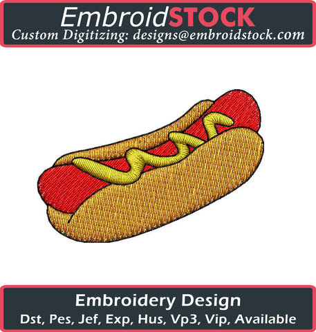 Hot Dog Embroidery Design - Embroidstock