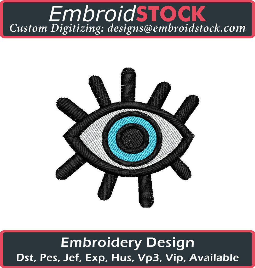 Fashion Eye Embroidery Design - Embroidstock