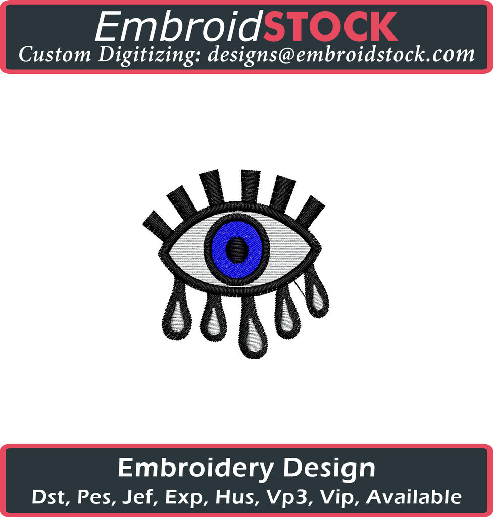 Tears Eye Embroidery Design - Embroidstock