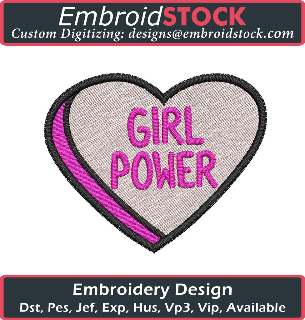 Girl Power Embroidery Design - Embroidstock