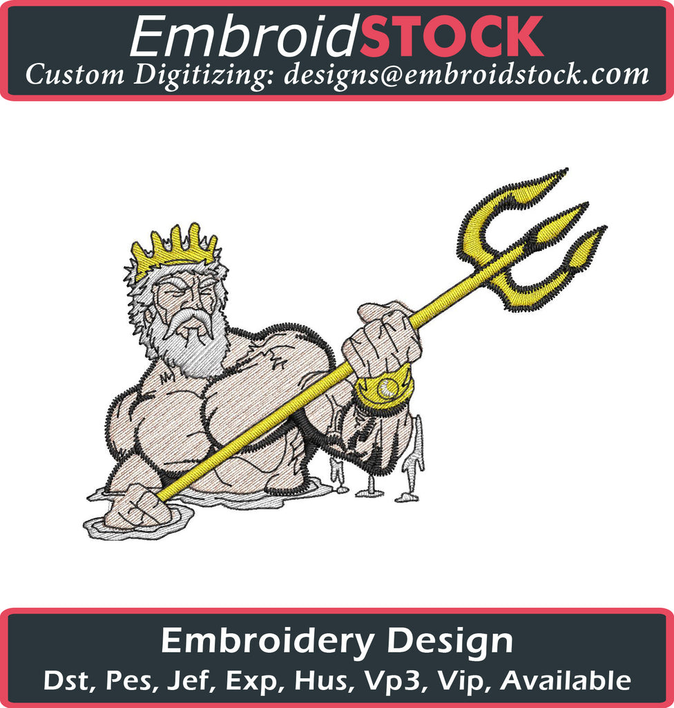 Poseidon Embroidery Design - Embroidstock