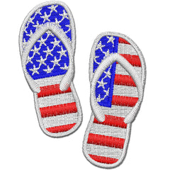 American Flag Flip Flops Embroidery Design
