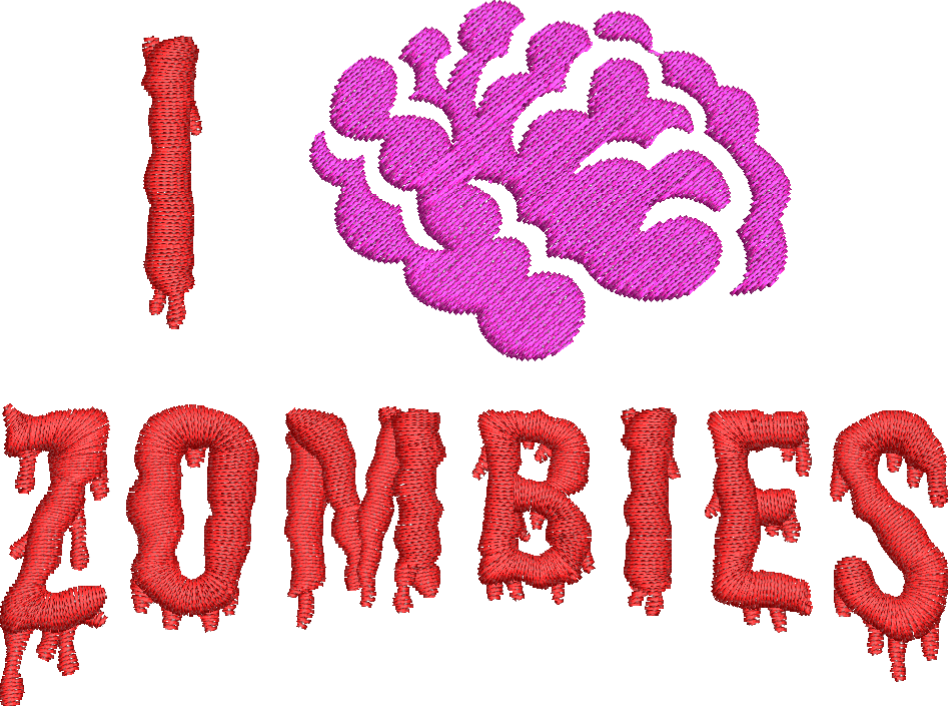 I Love Zombies Embroidery Design - Embroidstock