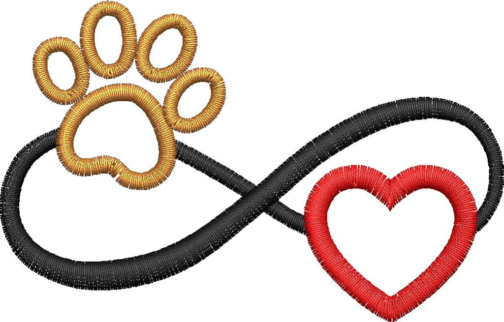 Infinity Heart and Paw Embroidery Design - Embroidstock