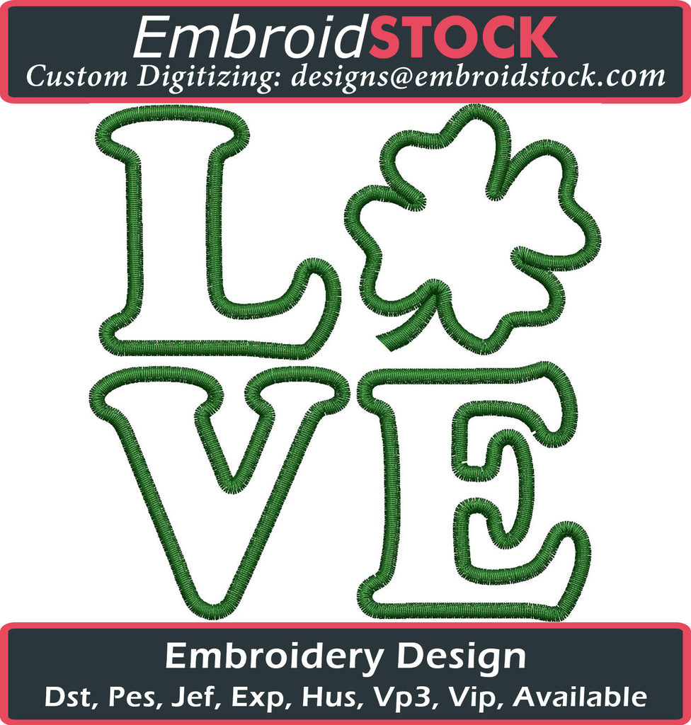 LOVE Clover Embroidery Design - Embroidstock